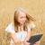 boldog · fiatal · nő · táblagép · gabonapehely · mező · nyár - stock fotó © dolgachov