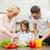 montage · gelukkig · gezin · ontbijt · vrouw · glimlach · man - stockfoto © dolgachov