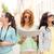 teenage girls with map and camera stock photo © dolgachov
