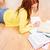 glimlachend · student · meisje · lezing · boeken · home - stockfoto © dolgachov