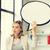 sonriendo · mujer · de · negocios · texto · burbuja · Foto · mujer - foto stock © dolgachov