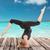mutlu · genç · kadın · yoga · açık · havada · spor · uygunluk - stok fotoğraf © dolgachov