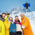 happy friends with snowboards and smartphone stock photo © dolgachov