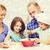 mutlu · aile · iki · çocuklar · salata · ev - stok fotoğraf © dolgachov