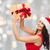 gyönyörű · barna · hajú · mikulás · kalap · ajándék · mosoly - stock fotó © dolgachov