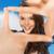 mosolygó · nő · készít · keret · ujjak · fehér · nő - stock fotó © dolgachov