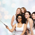 group of happy women taking selfie by smartphoone stock photo © dolgachov