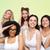 группа · счастливым · женщины · белый · белье - Сток-фото © dolgachov