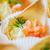 close up of dough cornet with salmon fish filling stock photo © dolgachov