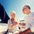 pareja · de · ancianos · gafas · barco · yate · vela · edad - foto stock © dolgachov