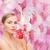 nő · virág · egészség · szépség · rózsaszín · csukott · szemmel - stock fotó © dolgachov