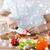 kucharz · cięcie · czerwony · pomidorów · kuchnia · ręce - zdjęcia stock © dolgachov