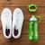 közelkép · sportcipők · karkötő · vizes · flakon · sport · fitnessz - stock fotó © dolgachov
