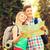 turistas · feliz · casal · caminhadas · isolado · branco - foto stock © dolgachov