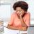 entediado · africano · americano · mulher · lição · de · casa · casa · pessoas - foto stock © dolgachov