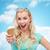fagylalt · lány · izgatott · boldog · eszik · fagylalttölcsér - stock fotó © dolgachov
