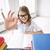 glimlachend · jonge · schoolmeisje · 10 · vergadering · klas - stockfoto © dolgachov