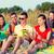 család · ül · tengerpart · mosolyog · lány · gyerekek - stock fotó © dolgachov
