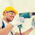 mosolyog · építész · munkavédelmi · sisak · fúrás · fal · bent - stock fotó © dolgachov
