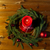 fir branch wreath with candle on wooden table stock photo © dolgachov