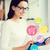 mosolygó · nő · néz · táblagép · üzlet · internet · technológia - stock fotó © dolgachov