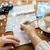 handen · kaart · koffie · schrijven · notebook · winter - stockfoto © dolgachov