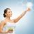woman with salad and virtual screen stock photo © dolgachov