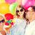 boldog · család · születésnap · apa · anya · gyerekek · ünnepel - stock fotó © dolgachov