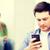 gelukkig · student · schrijven · tekst · mobiele · telefoon - stockfoto © dolgachov