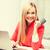 empresária · laptop · cartão · de · crédito · negócio · internet · sorridente - foto stock © dolgachov