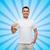 smiling man in t shirt pointing finger on himself stock photo © dolgachov