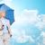 biztonság · esernyő · felhők · piros · esőcseppek · sötét - stock fotó © dolgachov