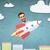 urbano · empresário · voar · alto · determinado · voador - foto stock © dolgachov