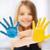 cute · kleines · Mädchen · gemalt · Hände · isoliert · weiß - stock foto © dolgachov
