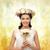bela · mulher · coroa · flores · belo · jovem · mulher · loira - foto stock © dolgachov