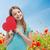 prado · flores · vermelhas · mães · dia · branco · cinza - foto stock © dolgachov