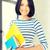 sorridente · bastante · mulher · jovem · documentos - foto stock © dolgachov
