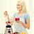 улыбающаяся · женщина · Shake · домой · приготовления - Сток-фото © dolgachov