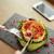 donna · mangiare · formaggio · di · capra · insalata · cibo · ristorante · culinaria - foto d'archivio © dolgachov