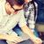 adolescents · travail · à · l'extérieur · heureux · élèves · écrit - photo stock © dolgachov