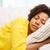 bella · donna · dormire · divano · donna · casa · occhi - foto d'archivio © dolgachov