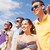 groep · gelukkig · vrienden · strand · zomer · vakantie - stockfoto © dolgachov