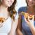 mutlu · arkadaşlar · genç · kızlar · yeme · pizza - stok fotoğraf © dolgachov