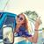 mujer · conducción · estilo · retro · imagen · feliz - foto stock © dolgachov