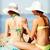ninas · sol · crema · playa · verano - foto stock © dolgachov