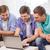 három · barátok · laptop · számítógép · ül · kanapé · számítógép - stock fotó © dolgachov