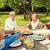 ragazza · felice · nonno · nonna · seduta · tavola · disegno - foto d'archivio © dolgachov