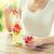 donna · frutta · acqua · vetro · bottiglia - foto d'archivio © dolgachov