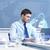 üzletember · dolgozik · virtuális · hálózat · hologram · üzletemberek - stock fotó © dolgachov