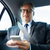 senior businessman texting on smartphone in car stock photo © dolgachov
